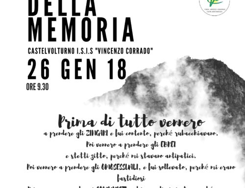 """Giornata della Memoria 26 Gennaio 2018 ore 9,30- Castel Volturno I.S.I.S """"Vincenzo Corrado"""""""